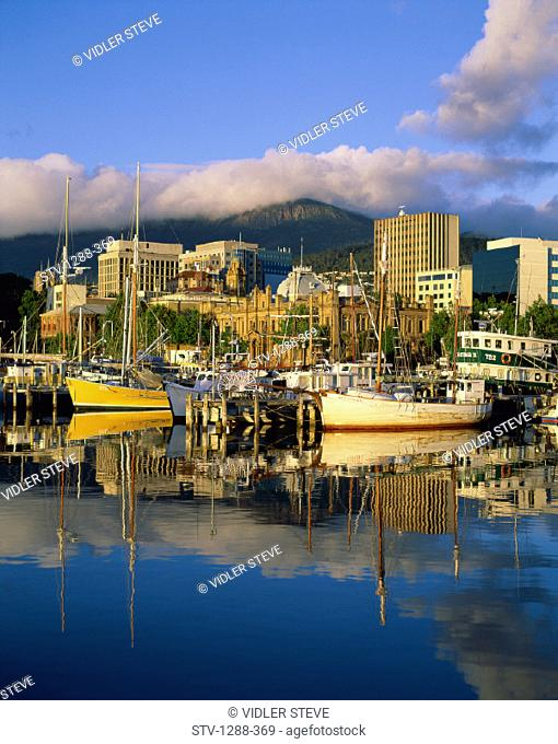 Australia, Boats, Buildings, City, Crowded, Derwent river, Hobart, Holiday, Landmark, Mount wellington, Port, Reflect, Reflectin