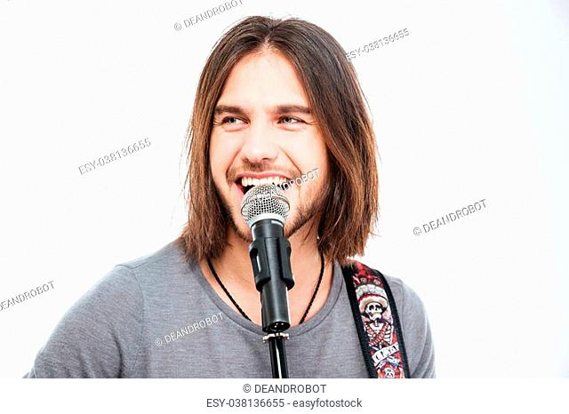 singing in microphone