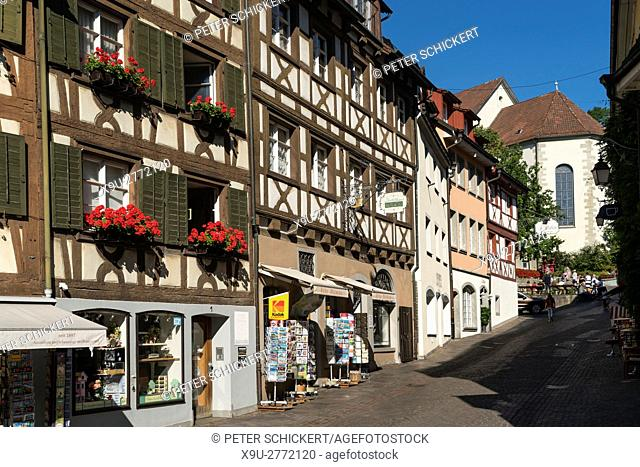 half-timbered buildings in Meersburg at Lake Constance, Baden-Württemberg, Germany,