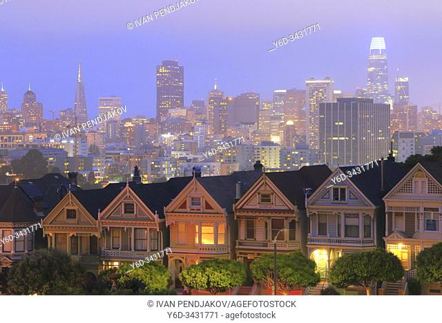 Painted Ladies and San Francisco Downtown at Night, California, USA