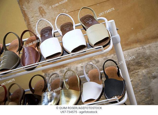 Traditional leather sandals, Ciutadella. Minorca, Balearic Islands, Spain