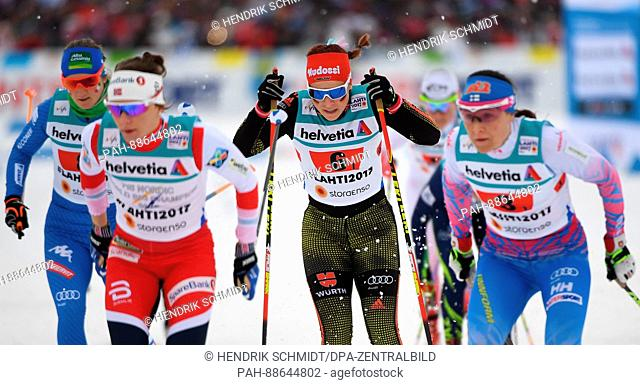 Lucia Scardoni from Italy, Maiken Caspersen Falla from Norway, Katharina Hennig from Germany and Aino-Kaisa Saarinen from Finland (l-r) in action during the...