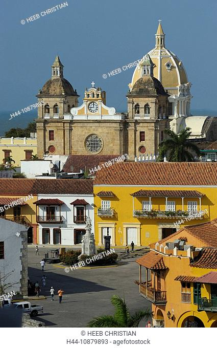 view to Old Town, Iglesia San Pedro Claver, Colonial Quarter, Cartagena, Department Bolivar, Colombia, South America