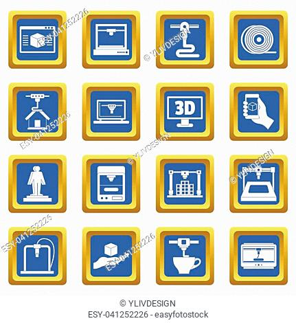 3D Printing icons set in blue color isolated illustration for web and any design