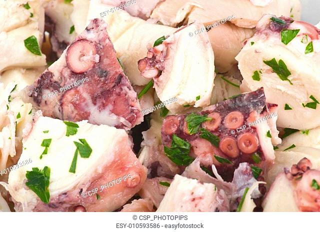 a plate of octopus salad closeup