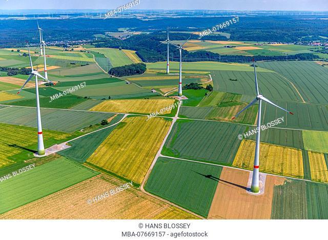 Wind farm, wind turbines on the Brilon plateau in the area Wülfte Alme, Brilon, Sauerland, North Rhine-Westphalia, Germany
