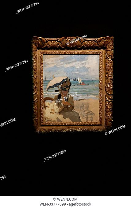 An auction of an art collection amassed by billionaire David Rockefeller at Christie's, London Featuring: Camille assise sur la plage a Trouville Monet Where:...