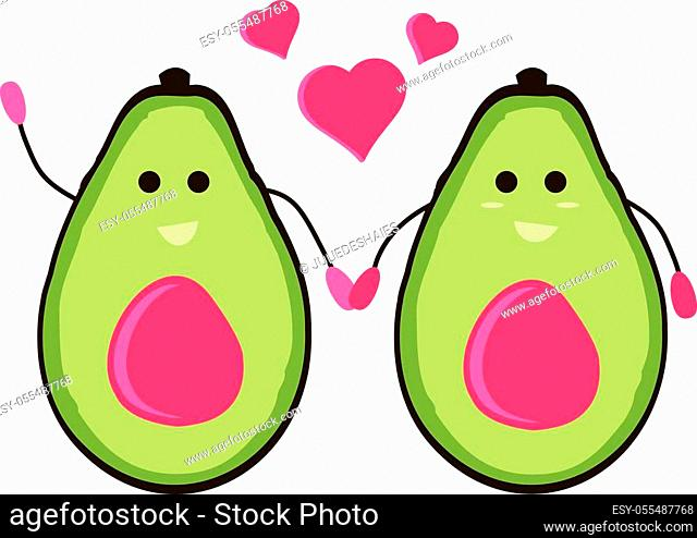 Female Gay avocado cartoon holding hand and loving each other