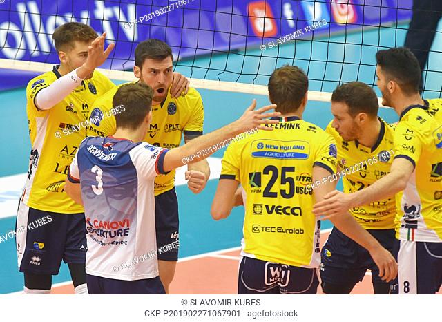 Players of Modena Volley are seen during the 6th round group B of volleyball Champions League match Karlovarsko vs Modena in Karlovy Vary, Czech Republic