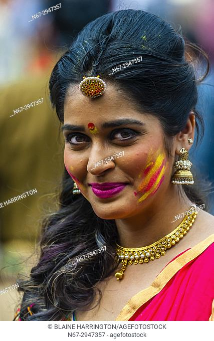 Beautiful Indian woman, Holi (Festival of Colors), Mathura, Uttar Pradesh, India