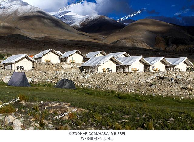 Camp am Pangong See in Ladakh, Indien