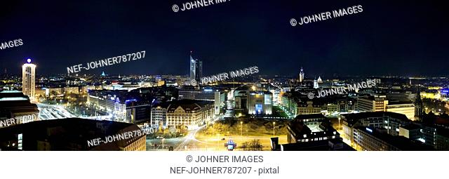 View of Leipzig in the night, Germany
