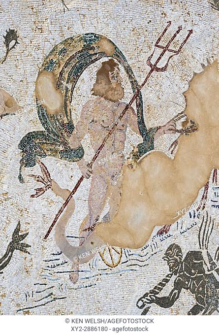 Roman city of Italica, near Santiponce, Seville Province, Andalusia, southern Spain. Mosaic of Neptune in the Casa de Neptuno - the House of Neptune