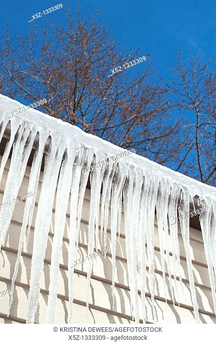 Ice covered gutters against a blue tree filled sky in Winter