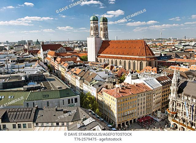 The beautiful Frauenkirche (Cathedral Church of Our Lady) at the Marienplatz in Munich, Germany