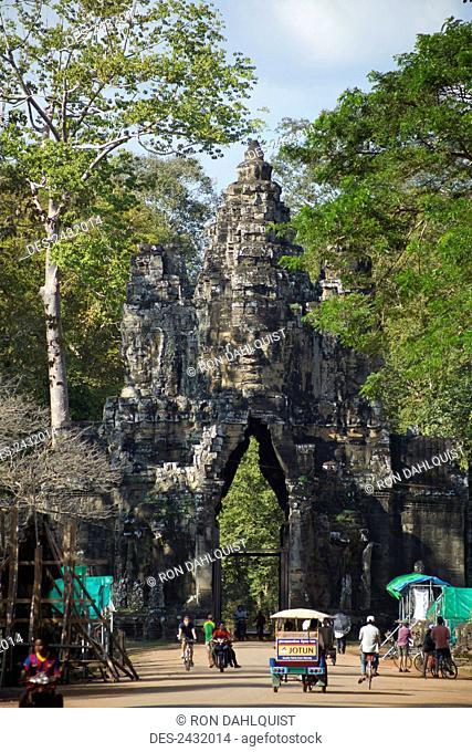 South gate to Angkor Thom, north of Angkor Wat; Siem Reap, Cambodia