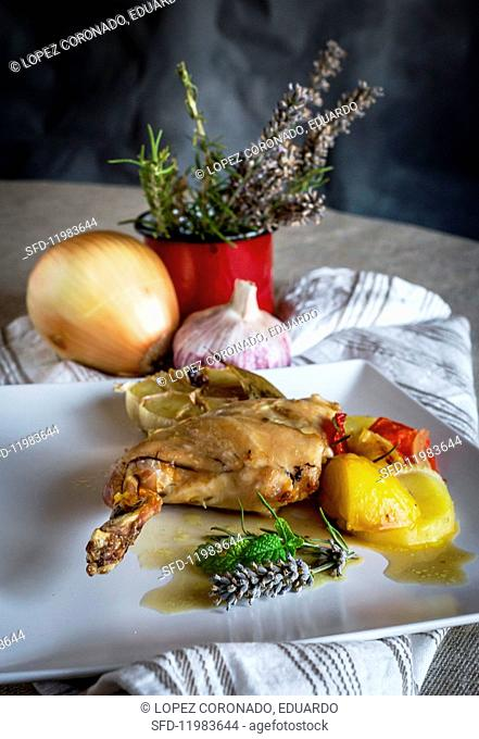 Roast rabbit with vegetables and herbs