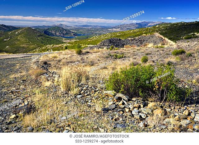 The Atazar reservoir from the Las Pinilla hill in the Sierra Norte Madrid Spain