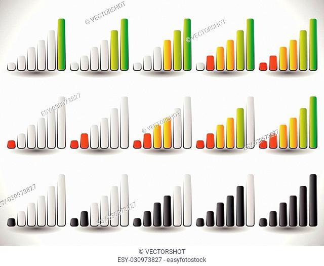 Increasing bars as level or progress indicators, signal strength, completion indicators