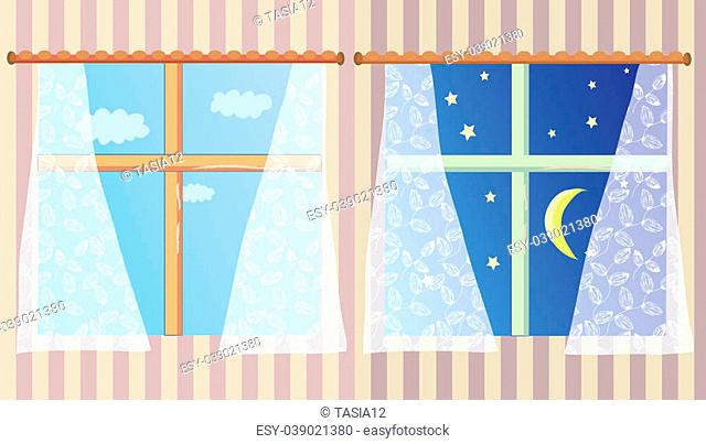 Windows in the room at day and night set