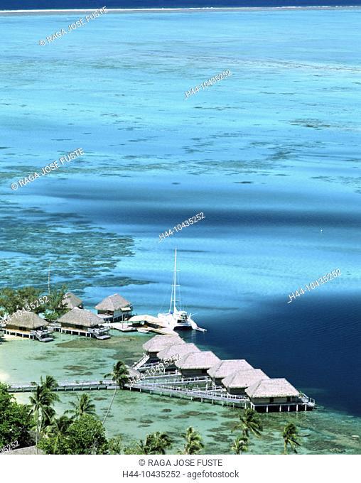 10435252, Bora Bora islands, isles, Pacific, huts, lagoon, Raiti Point, footbridge, beach, seashore, overview