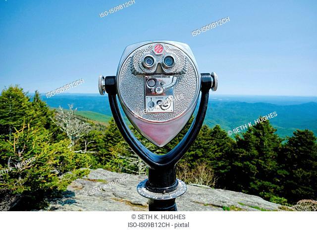 Coin operated binoculars on ridge, Blue Ridge Mountains, North Carolina, USA