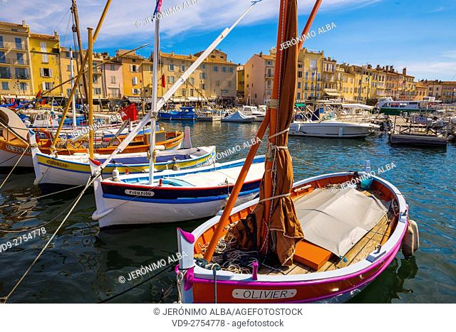 Fishing boats at fishing port, Marina, old harbour. Village of Saint Tropez. Var department, Provence Alpes Cote d'Azur. French Riviera