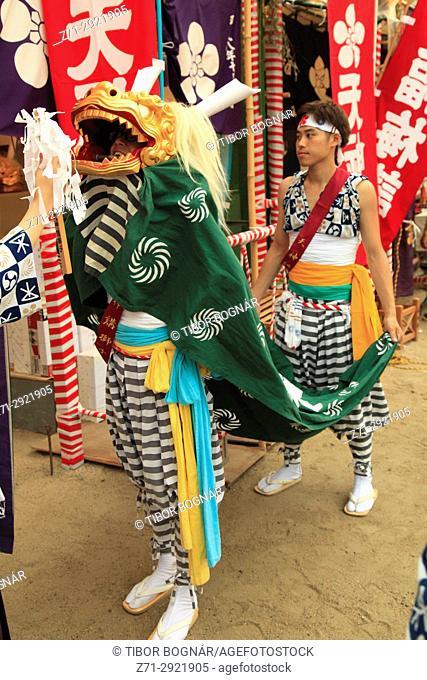 Japan, Osaka, Tenjin Matsuri, festival, Shishimai Lion Dancer, people,