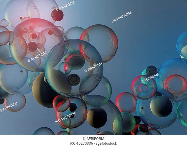 Abstract backgrounds pattern of red, blue and green bubbles