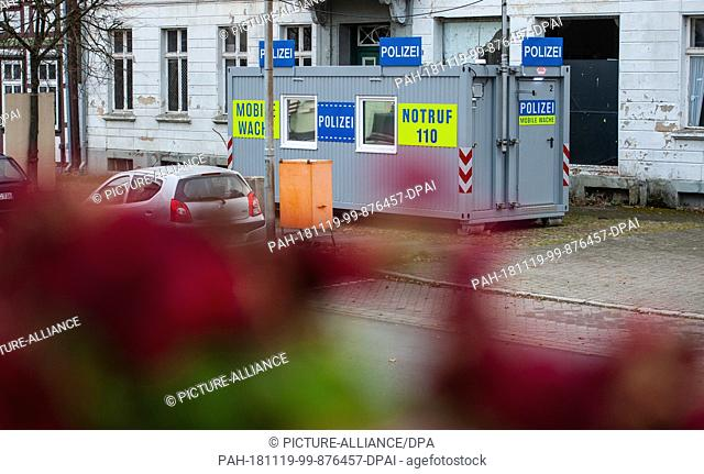 19 November 2018, Lower Saxony, Bergen an der Dumme: A mobile police station is in the center of Bergen at the stupid. In Bergen an der Dumme