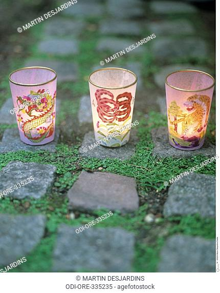 Chinese patterned candle jars