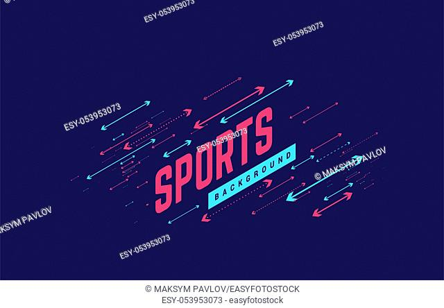 Sports geometric background vector illustration with arrows. Can be use for sport news, poster, presentation etc