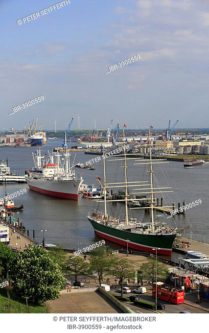 The museum ships Rickmers Rickmers and Cap San Diego on the Elbe River, Hamburg, Germany