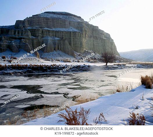 Winter snow along Owyhee River at Jordan crossing. Oregon. USA