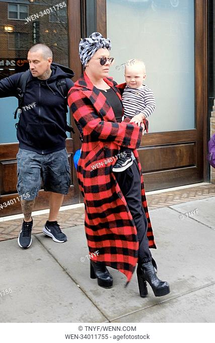 Pink leaving her hotel with son Jameson Moon Hart in New York, United States. Featuring: Pink, Jameson Moon Hart Where: Manhattan, New York