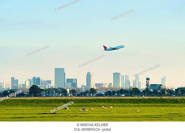 Airplane taking off from Hague airport, Rotterdam, South Holland, Netherlands, Europe