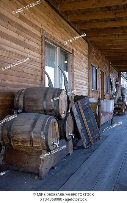 Beer keg barrels stacked outside old west themed motel