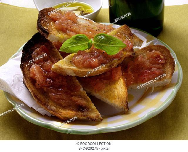 Bruschetta with fresh basil