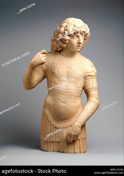 A Young Warrior. Artist: Tullio Lombardo (Italian, ca. 1455-1532) , and workshop; Date: 1490s; Culture: Italian, Venice; Medium: White marble; Dimensions:...