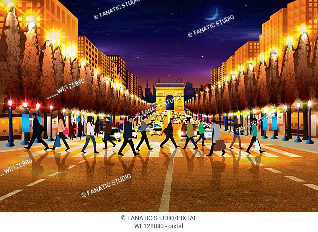 Illustrative image of people walking on zebra crossing Arc de Triomphe in background at Paris, France