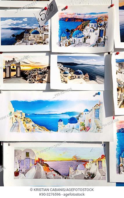 Postcards in Oia, Santorin, Greece, Europe