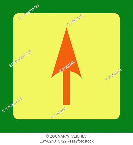 Arrow Axis Y flat orange and yellow colors rounded button