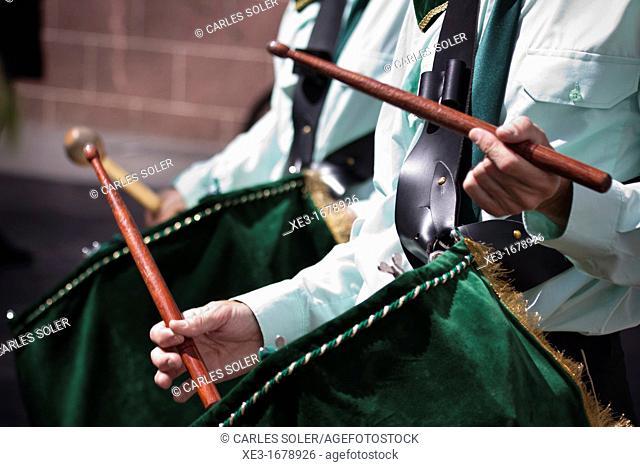 Drums at procession, San Cristobal de la Laguna, Tenerife, Canary Islands, Spain