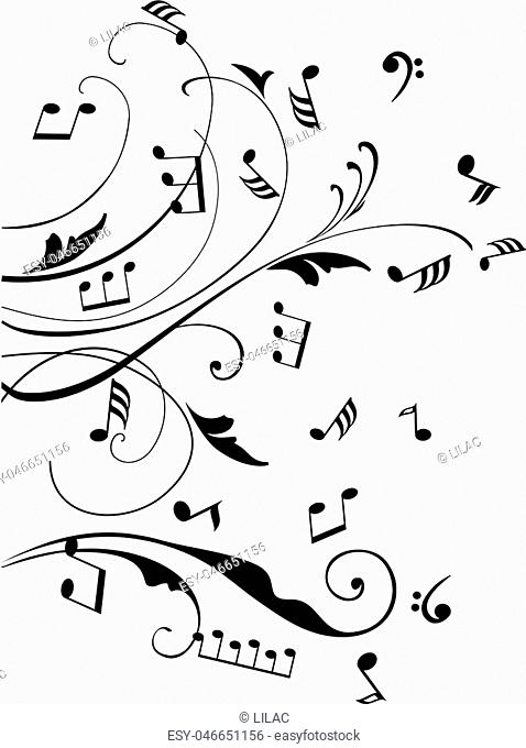 vector musical notes swirls