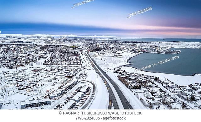 Winter-Arnarnes and Gardabaer suburbs of Reykjavik, Iceland. This image is shot using a drone