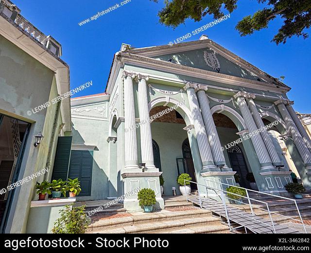 Main facade of the Dom Pedro V Theatre situated at Largo de Santo Agostinho. Macau, China