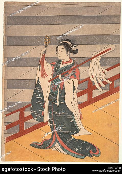 Girl on Balcony above Stone Stairway. Artist: Suzuki Harunobu (Japanese, 1725-1770); Period: Edo period (1615-1868); Date: ca