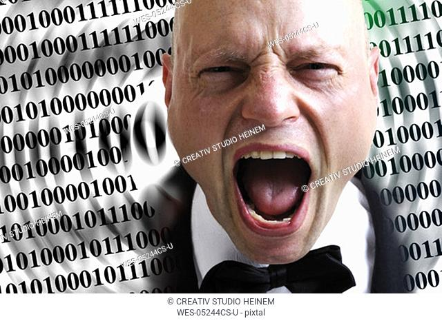 Man screaming in front of numerical series, close-up
