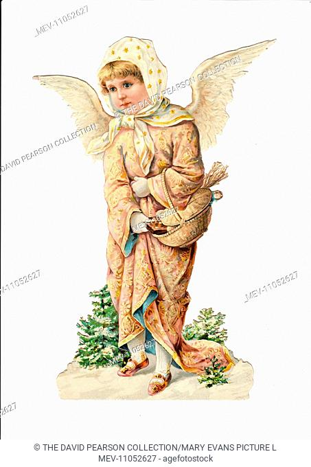 Angel with a basket on a Victorian Christmas scrap