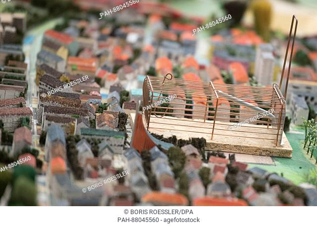 A mouse trap symbolises the prison in Frankfurt-Preungesheim in the new model of the city of Frankfurt, Germany, 13 February 2017